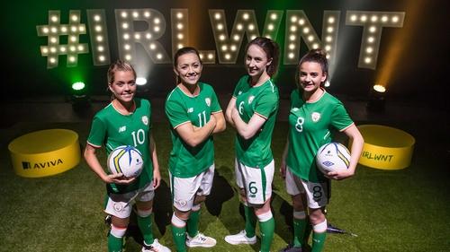 (l-r) Denise O'Sullivan, Katie McCabe, Karren Duggan and Leanne Kiernan at the Aviva sponsorship announcement