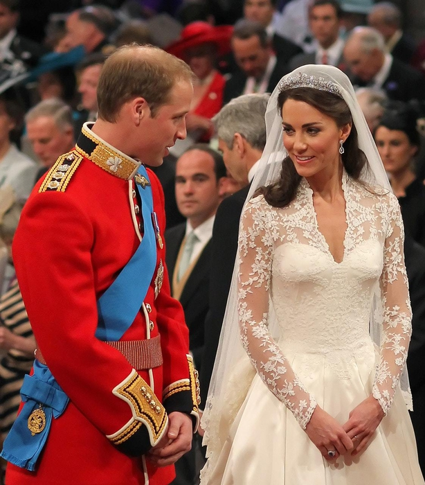 Prince William and Kate during their wedding at Westminster Abbey, London (PA)