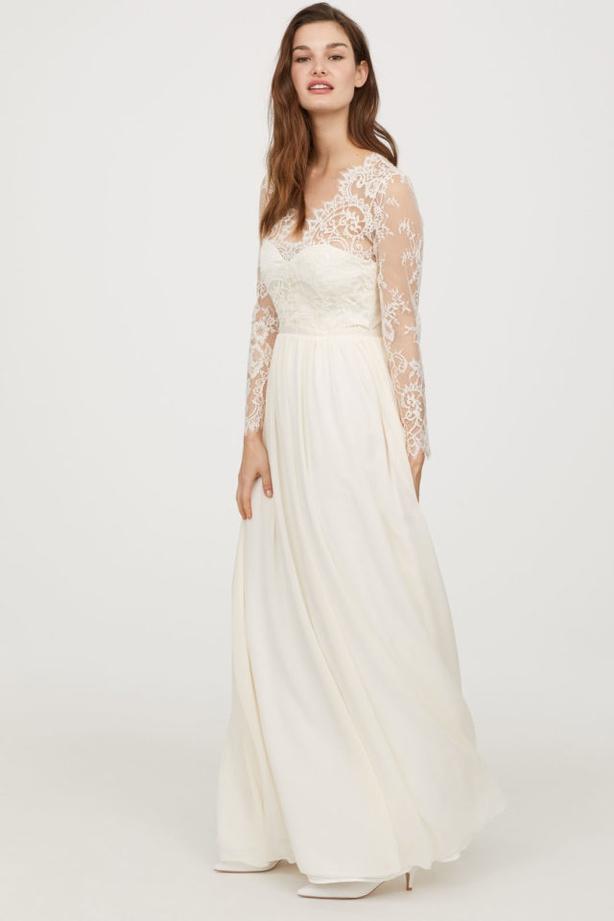H&M Long Lace Wedding Dress