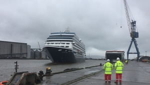 The Azamara Pursuit docked at Harland and Wolff shipyards