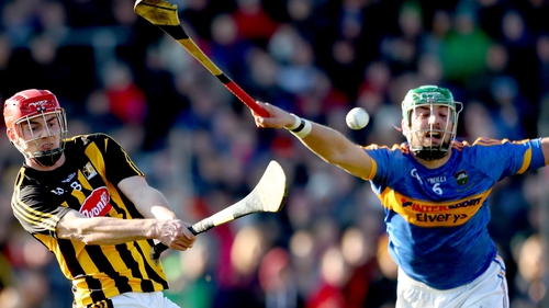 Kilkenny's James Maher is blocked by Seán O'Brien in February's league match
