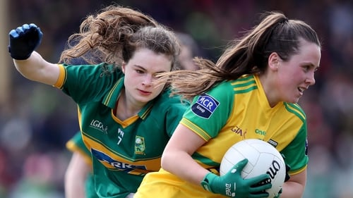 Donegal's Sarah Jane McDonald (R) in action against Sarah Murphy of Kerry