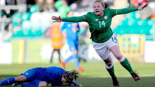 Amber Barrett celebrates scoring the winning goal against Slovakia