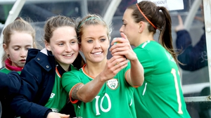 The Republic of Ireland's Denise O'Sullivan gets a selfie with fans