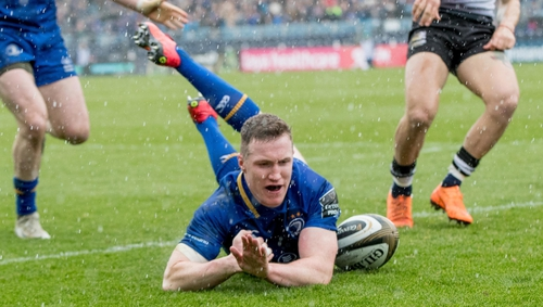 Leinster's Rory O'Loughlin scores a try