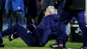 John Caulfield was pushed to the ground