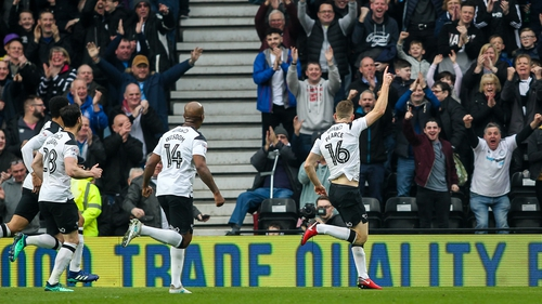 Alex Pearce scored one of Derby's three goals against Bolton.