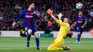 Leo Messi dinks home his hat-trick goal against Leganes
