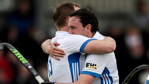 Luke Madeley and Mitch Darling celebrate Three Rock Rovers' glory
