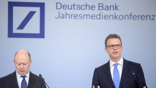 Deutsche Bank's outgoing CEO John Cryan (left) and new CEO Christian Sewing