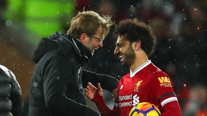 Klopp greets Salah after another goal-scoring performance
