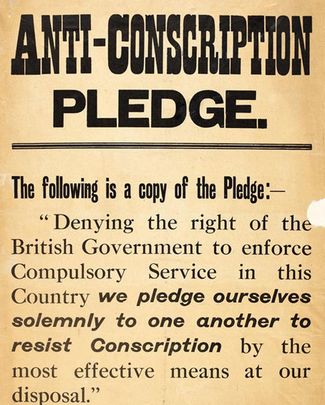 Anti-Conscription Pledge (National Library of Ireland)