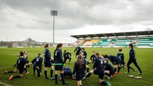 The women's team training at Tallaght Stadium