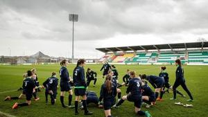 The women's team training at Tallaght Stadium