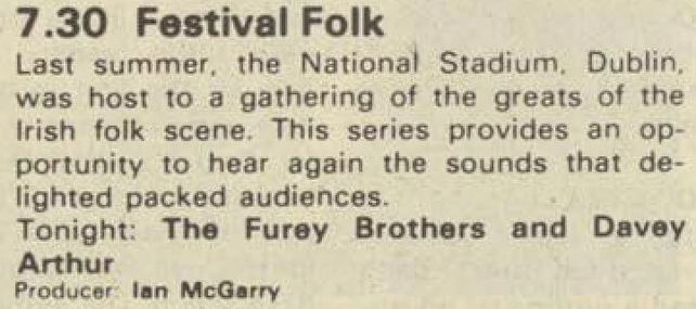 Festival Folk Fureys and Davey Arthur Guide Billing (1983)