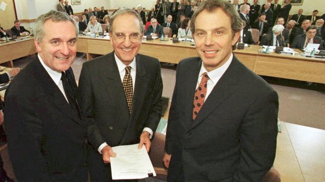 British Prime Minister Tony Blair, US Senator George Mitchell, An Taoiseach Bertie Ahern