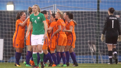 Ireland's Louise Quinn dejected after conceding they first goal of the game