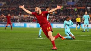 Kostas Manolas of AS Roma celebrates his side's crucial third goal
