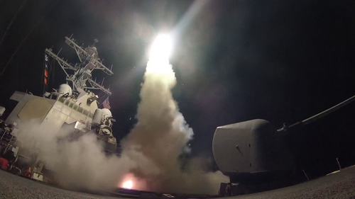 The US fired cruise missiles at a Syrian military airfield in 2017 in retaliation for a chemical attack in Idlib province