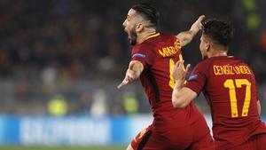 Kostas Manolas celebrates Roma's third