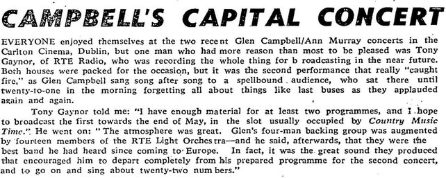 Review of Glen Campbell gigs at The Carlton in RTÉ Guide 4 May 1973