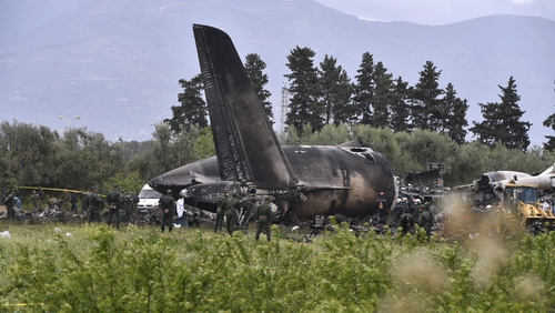 Witnesses have said they saw a wing catch fire shortly after the plane took off