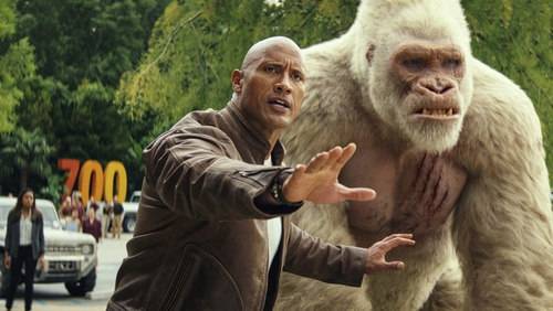 Dwayne Johnson and George in Rampage