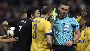 Juventus goalkeeper Gianluigi Buffon was dismissed by Michael Oliver in injury-time