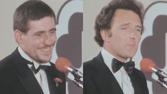 Gabriel Byrne and Mike Murphy at the Jacob's Awards (1980)