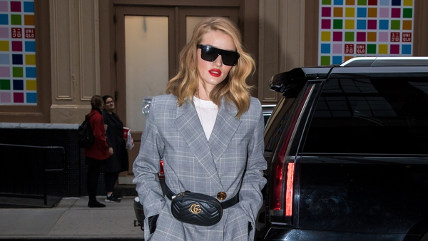 Rosie Huntington-Whiteley is seen arriving at her hotel on March 28, 2018 in New York, New York.