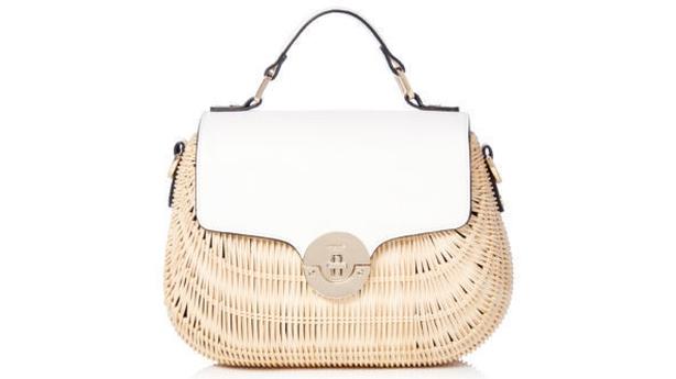 Dune Doannee White Basket Woven Handbag