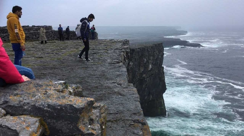 Tourists at Dún Aonghasa today