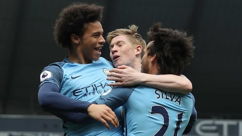 Leroy Sane (L), Kevin De Bruyne and David Silva have been superb for Manchester City this season