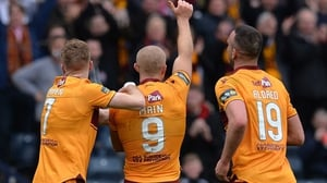 Curtis Main of Motherwell (C) celebrates scoring his second goal of the game