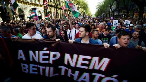 The crowd marched through the centre of Budapest to the parliament building