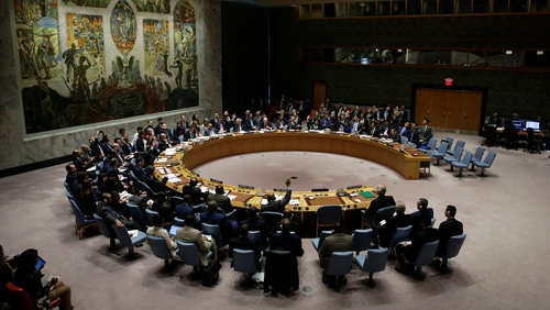 A seat at the big table: members of the UN Security Council discuss Syria in April 2018. Photo: Jason Szenes/EPA-EFE