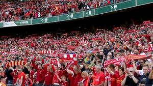 Liverpool fans at the Aviva Stadium last August