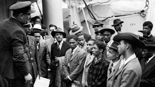 Jamaican immigrants being welcomed by RAF officials in June 1948