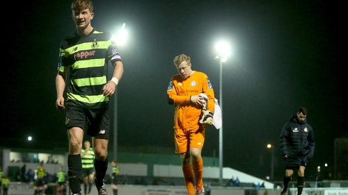 A dejected Rovers captain Ronan Finn leaves the pitch following the 1-0 defeat in Bray