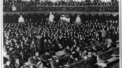 The inaugural meeting of the first Dáil took place in the Round Room at Dublin's Mansion House in January 1919