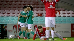 Jimmy Keohane celebrates with his teammates after breaking the deadlock deep in the second half against Sligo Rovers