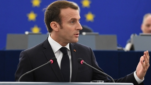 Emmanuel Macron addressing the European Parliament in Strasbourg