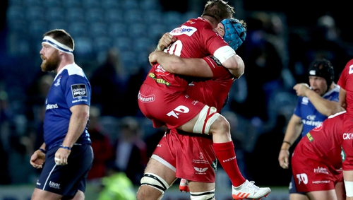 Tadhg Beirne (blue cap) is central to Scarlets' hopes of another upset