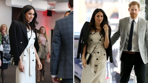 Meghan Markle debuts her most fashion-forward look yet in a vintage-inspired dress and stilettos.