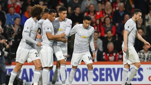Manchester United celebrate Smalling's goal