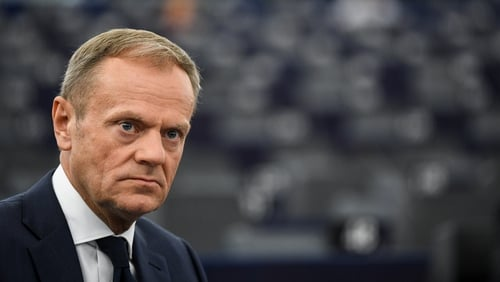 Donald Tusk said the border issue has to be solved by the UK