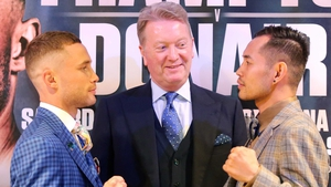 Carl Frampton and Nonito Donaire face off in front of Frank Warren