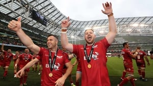 Gareth Davies and Rob Evans celebrate last year's Guinness Pro12 win
