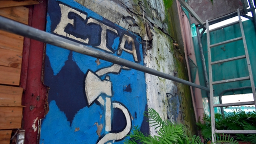 Old graffiti depicting the logo of the separatist group ETA in the northern Spanish Basque village of Bermeo