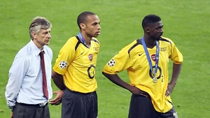 Arsene Wenger, Thierry Henry and Kolo Toure after the defeat to Barcelona in 2006